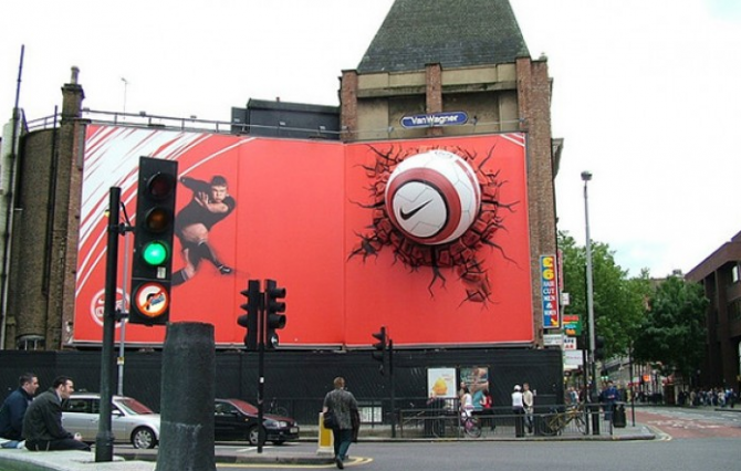 Advertising fence with embedded ball