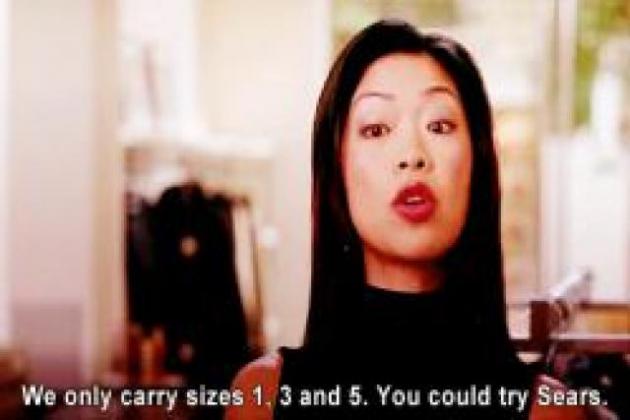 """""""Temos apenas os tamanhos 1, 3 e 5. Você pode ir ao supermercado (Sears)"""""""