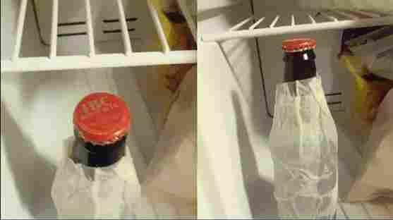 Keukenpapier om flessen te koelen