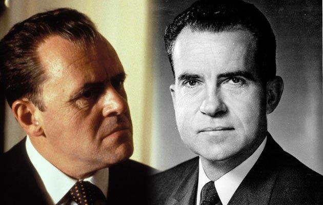 Anthony Hopkins transformado em Richard Nixon