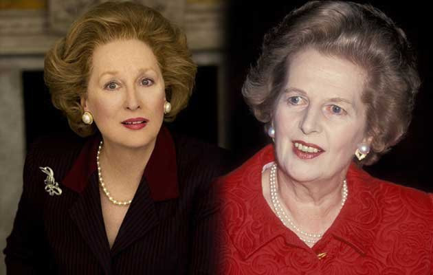 Meryl Streep playing Margaret Thatcher