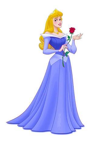 Aurora em vestido azul