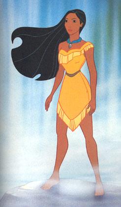 Pocahontas em vestido de índio americano