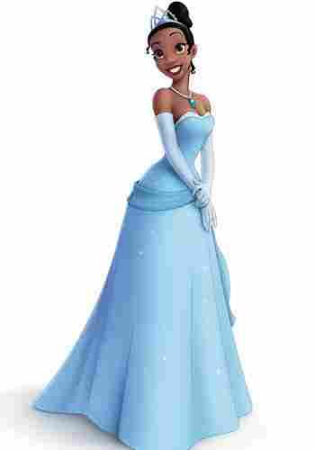 Tiana em traje de princesa