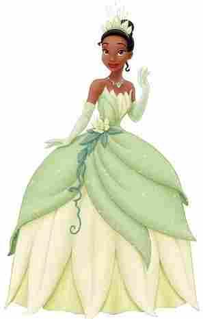Tiana em um vestido de princesa