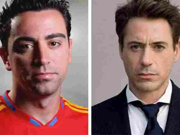 Xavi Hernández y Robert Downey Jr.