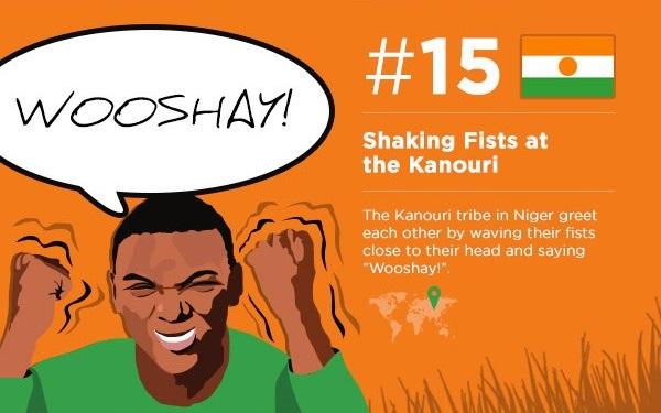 Shake your fists and say 'Wooshay!' (Kanouri Tribe)