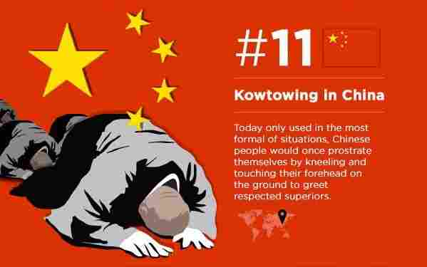 You kneel and bow your head and hands to the ground (you will do this in China)