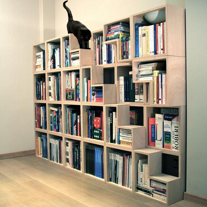 Bibliotek med trappor