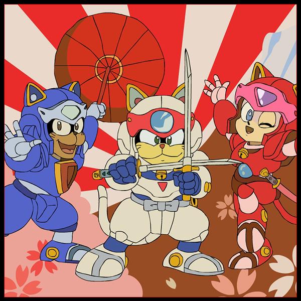 Gatos da pizza do samurai.